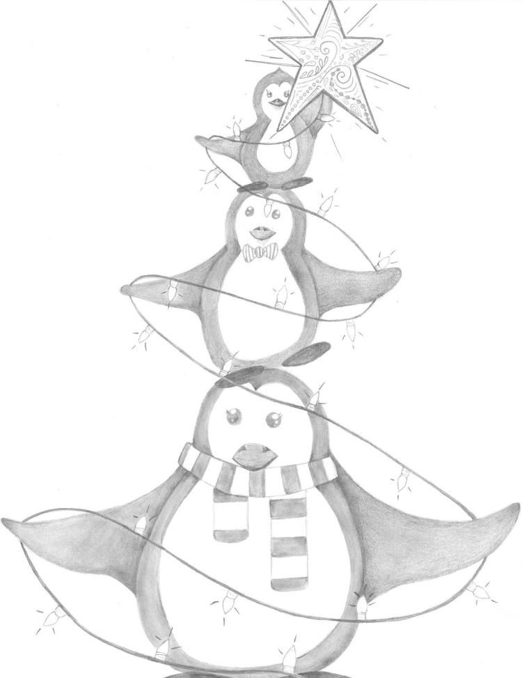 penguin Tree Sketch